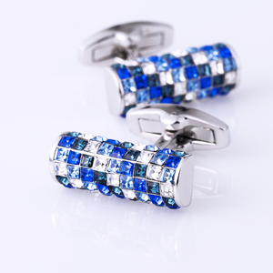 Image 5 - KFLK תכשיטי חולצת cufflink מותג כחול ולבן קריסטל קאף קישור יוקרה חתונה כפתור לאורחים באיכות גבוהה