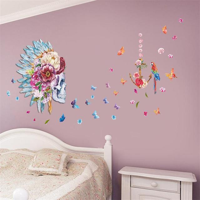 a3f6784739 Indians Skull Flower Design Birds Butterfly Wall Art Decal Sticker  Removable Bedroom 067. Creative Decoration Decor