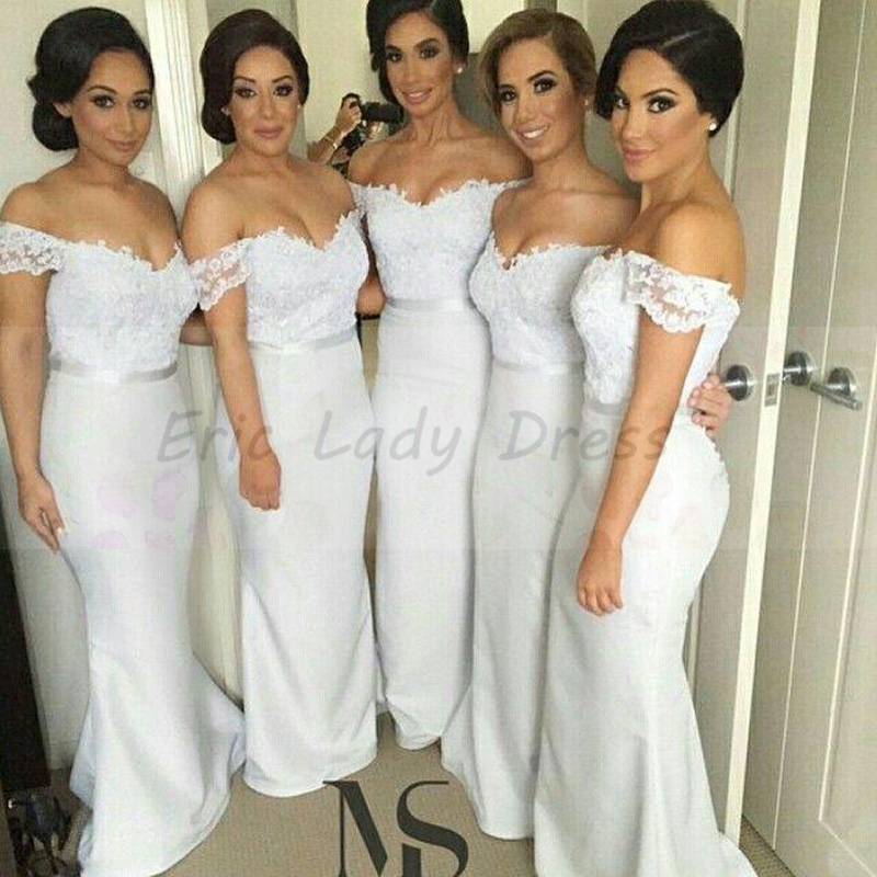buy long mermaid bridesmaid dresses white