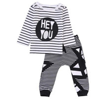 2017 2pcs Summer Baby Sets Infant Clothing Set Full Sleeve Baby Boy T Shirt Tops Pants