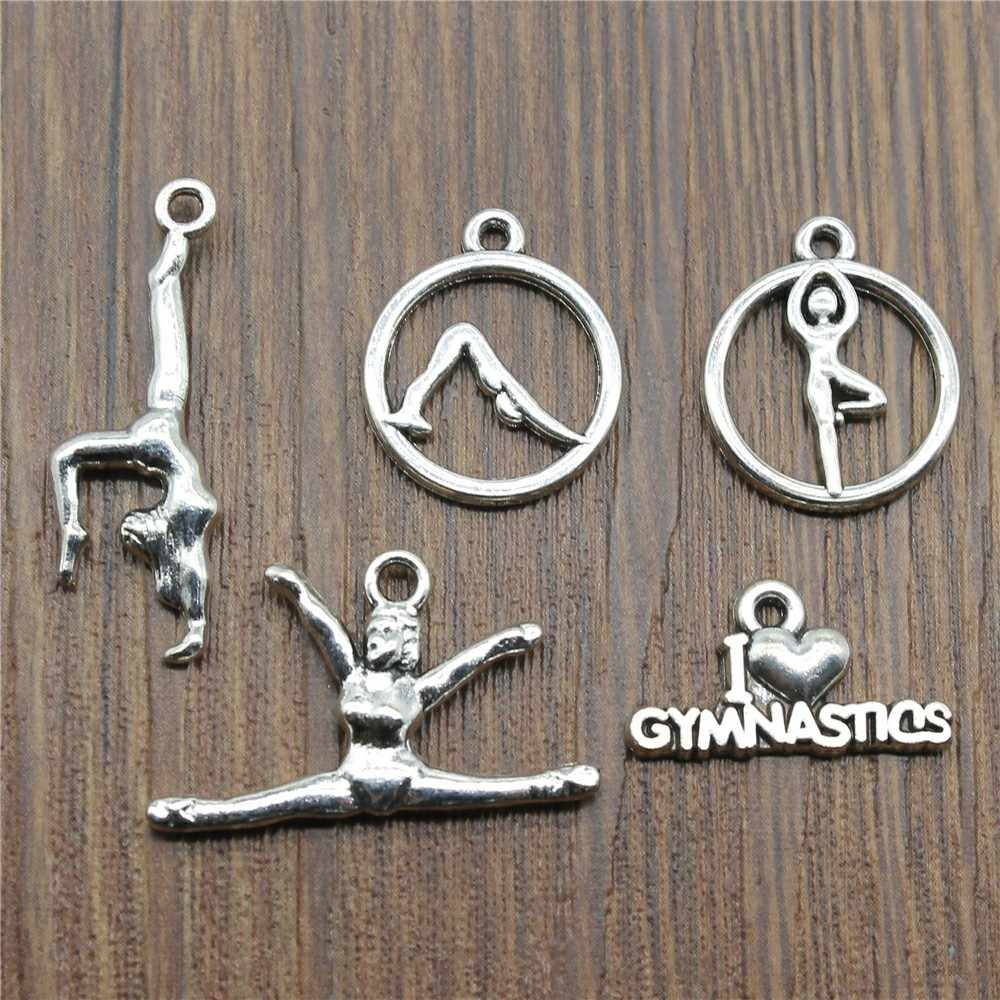 20pcs/lot Charms Gymnastics Antique Silver Color Gymnastics Charms Jewelry Findings Diy GYM Charms Sport Wholesale