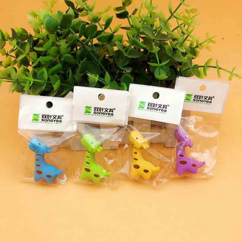 4 Pcs Cute Candy Color Giraffe Rubber Eraser Kawaii Creative Stationery School Supplies Papelaria Gift For Kids