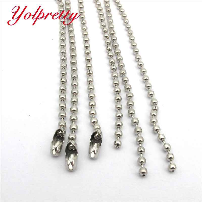 Yolprtty New Fashion Stainless Steel ( No Fade ) 3pcs /lot   2.0mm  Ball Beads Chain Necklace Connector 60cm (23.6 inch)
