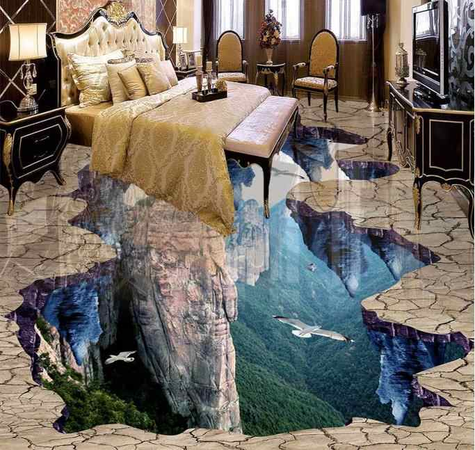 3d floor murals pvc wallpaper Custom 3d floor tiles waterproof wallpaper for bathroom Cliff peaks 3d floor wallpapers