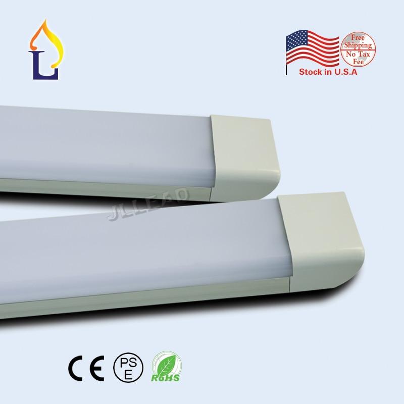 24pcs/lot Led clean purification tube light 4ft 50W led flat batten light AC100-277V PF:0.9 wall lamp milky cover