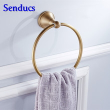 Senducs Bathroom Towel Ring Hot Sale Antique Kitchen Towel Rings with High Quality Brass Black Balcony Towel Ring(China)