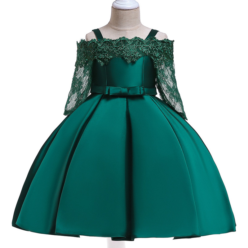 Flower     Girls     dress   for   Girls   clothes Kids Clothing Satin Elegent Lace cutout Shoulderless   Girls     Dresses   for Party Custumes