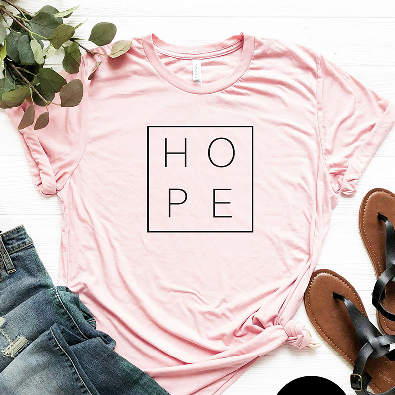 Faith Hope Love Christian T-shirt God Tee Gift Woman Short Sleeve Cotton Tops 19