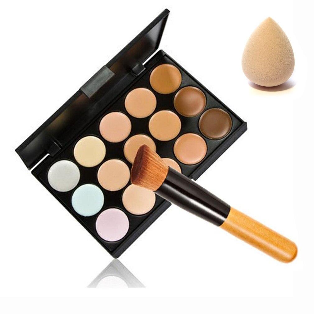 New Cosmetic 15 Color Contour Face Makeup Concealer Palette Corrector Make up Base Pallete + Sponge Puff + Powder Brush Set