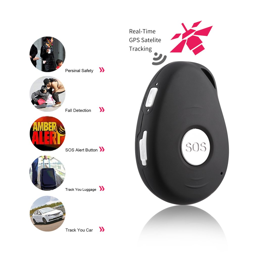 LESHP Black GPS Mini GPS Tracker Locator SOS Alarm for Kids Elder Pet Cat Dog Car Vehicle Personal Security EU Plug