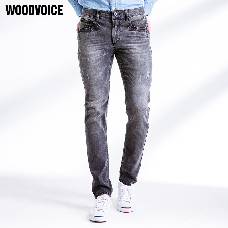 Famous Brand Very High Quality Men Scratched Style Elastic Pants Male Middle Waist Moto Long Denim Trousers Gray Vintage Jeans 2017 vintage bf style fit high waist jeans elastic femme women washed blue denim skinny jeans classic pencil trousers pants