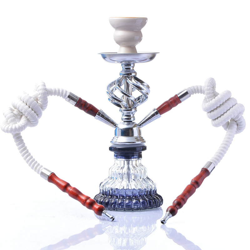 Glass Arab Hookah Set Smoking Shishas Water Pipe Hose Remote Complete Set Tobacco for Hookah Bowl Double pipe hookah Shisha