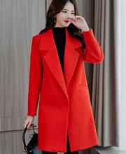 Korean loose Wool Blend Coat Women Long Sleeve Turn-down Collar Outwear Jacket Casual Autumn Winter red black Elegant Overcoat cheap QXSLZQ Polyester Pockets Button Single Button N419RX REGULAR Wool Blends Solid Full