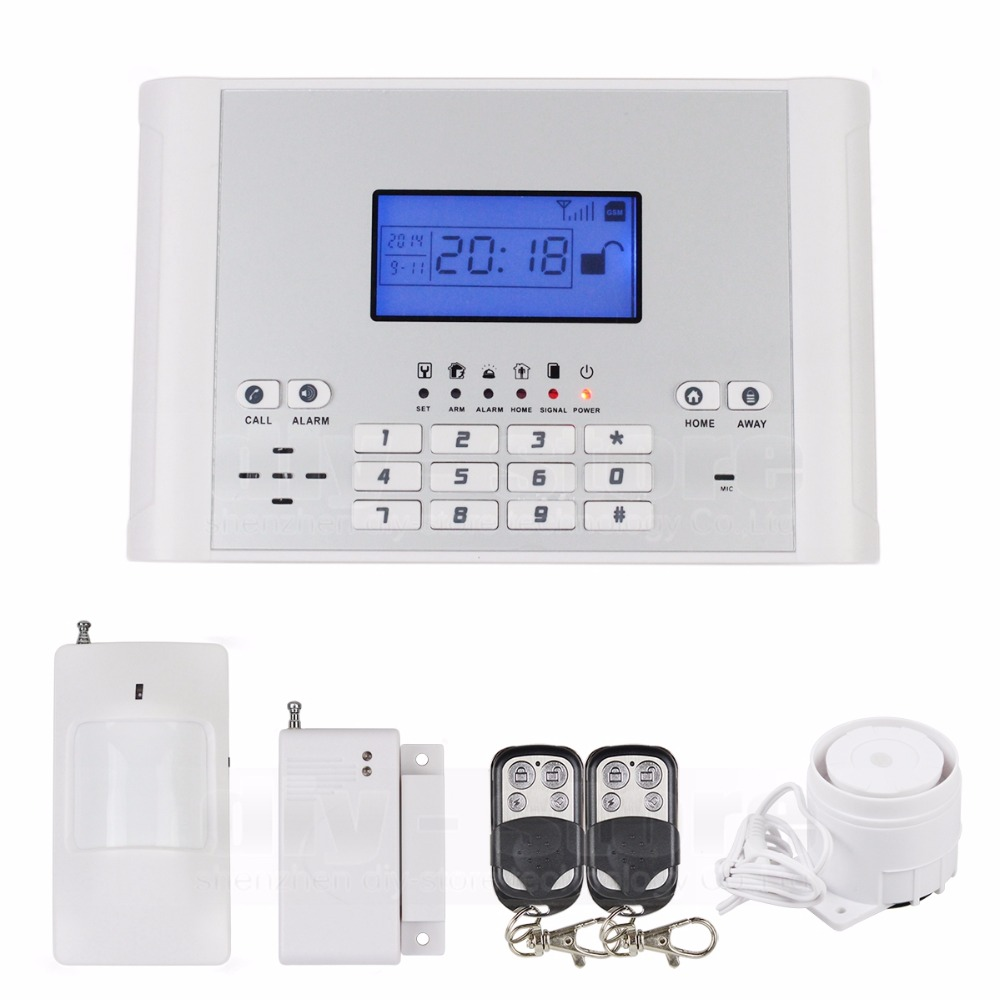 DIYSECUR Wireless/Wired Defense Zones GSM SMS Intruder Security Alarm System Kit Auto-dial for House Office Free Shipping стоимость