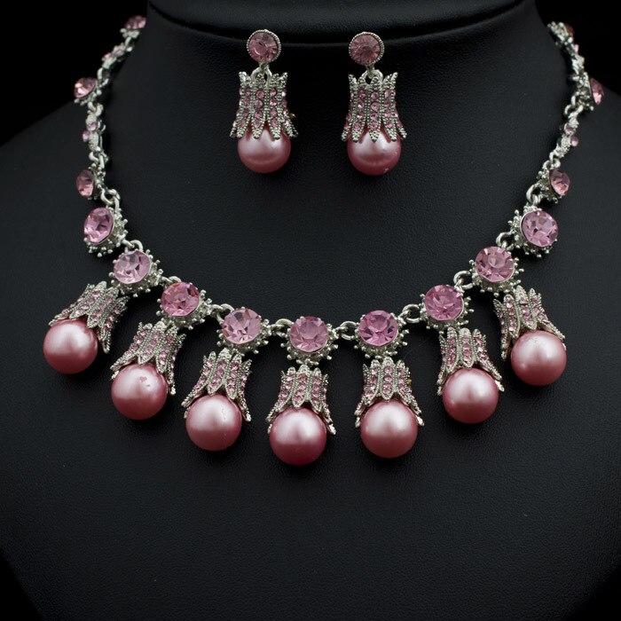6783p designer pink wedding jewelry set fashion necklace for Pink wedding jewelry sets