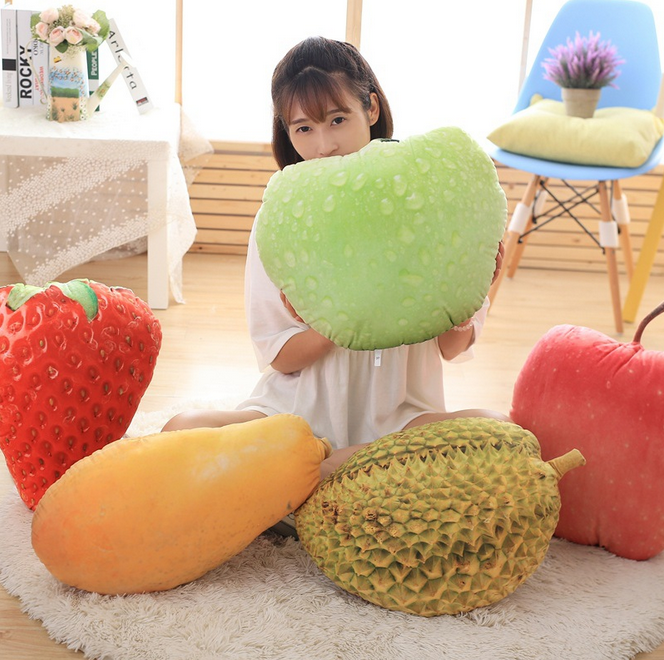 3D Simulation Fruits Plush Pillow Strawberry Mango Durian Apple Pillow Chair Seat Sofa Staffed Cushions Creative Birthday Gift