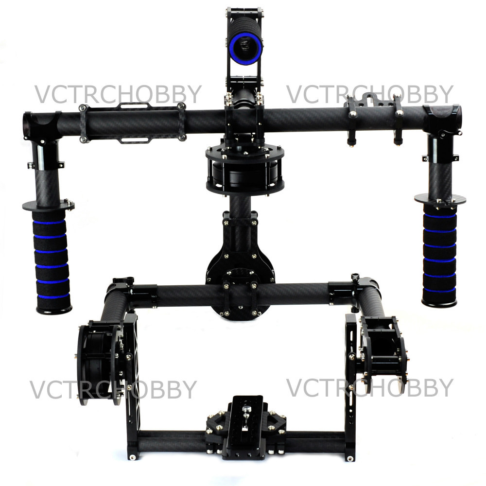 NEW 3-Axis DSLR Handle Carbon Brushless Gimbal 6208 Motors with Controller joystick
