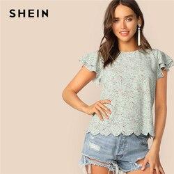 SHEIN женская блузка с рукавом-бабочкой и цветочным узором, с круглым вырезом, гламурные летние шикарные топы