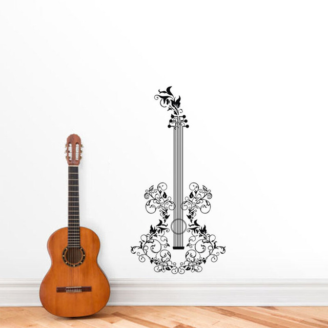 Floral Guitar Wall Stickers Home Decor Art Sticker Music Room Decals Creative Decoration Vinyls