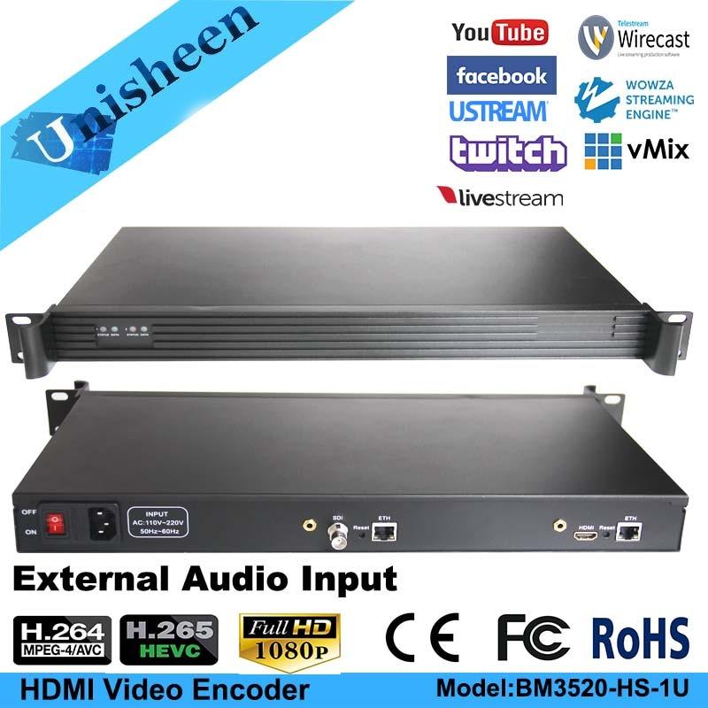 H.265 HEVC MPEG-4 AVC/H.264 4in1 HDMI HD SDI Video Encoder HDMI Transmitter live Broadcast encoder H264 encoder