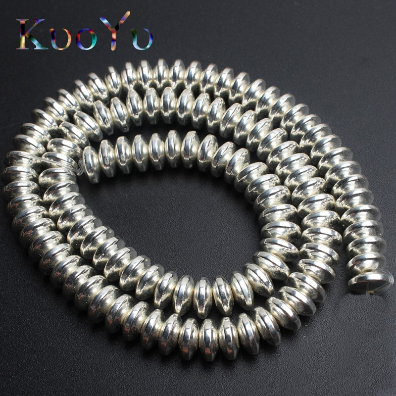 Natural Silver Rondell Stone Hematite Spacer Beads For Jewelry Making 4/6/8mm 180pcs/lot DIY Bracelet Pendant Necklace wholesale
