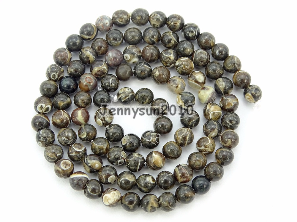 Natural Turritella Ag-ate Gems Stone Round Beads 15.5'' Strand 4mm 6mm 8mm 10mm for Jewelry Making Crafts 5 Strands/Pack