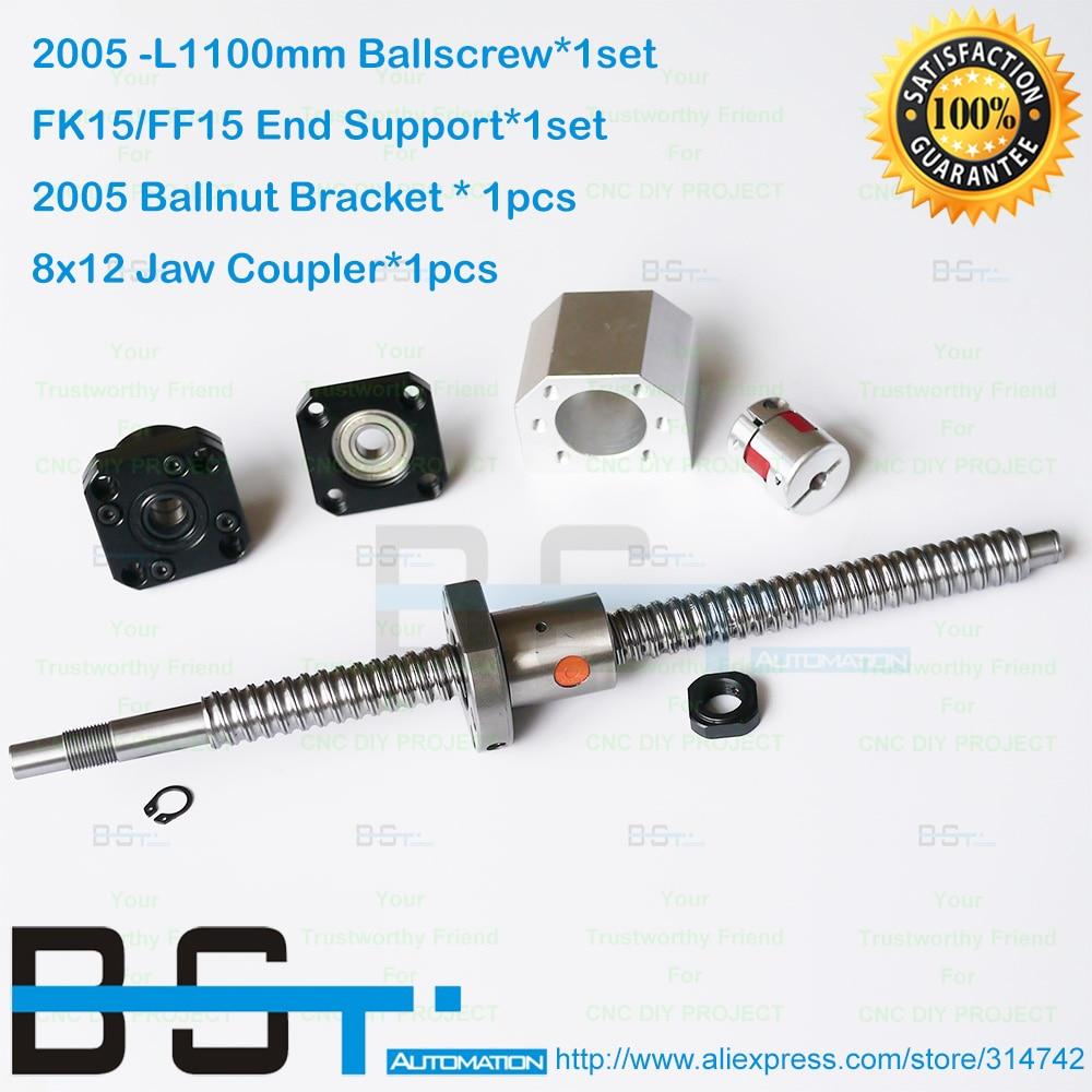 2005 Ball Screw SFU2005 L1100mm End machined FK15 FF15 Support 2005 Ballnut Bracket Shaft coupler