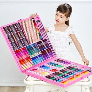 Image 2 - Conjunto de pintura de aquarela, 168/288 peças, ferramentas de desenho artístico, escova, suprimentos para canetas, crianças para caixa de presente e escritório papelaria papelaria
