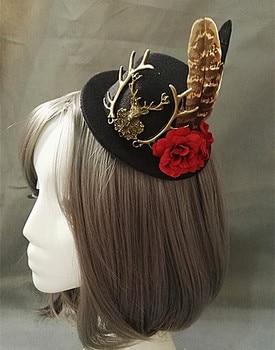 Handmade Victorian Steampunk Mini Top Hat Deer Head Flower Feather Accessory Vintage
