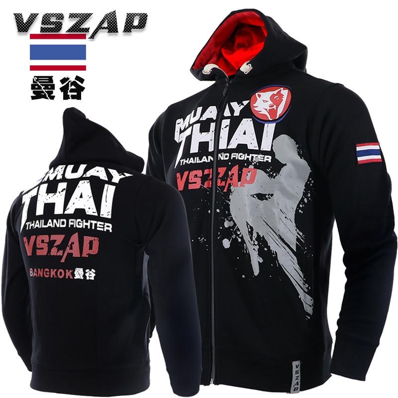 VSZAP Kleidung Herbst Muay Thai Mit Kapuze Fir Fitness Zip Hoodie MMA Kampf Jacke 10 Modelle