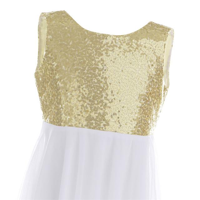 Long Sequin Bridesmaid Girls Gold Dress