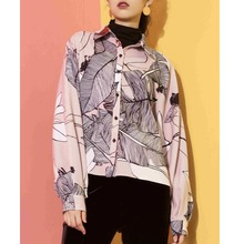 Original Design 2017 Brand Chiffon Shirt Fashion Casual Abstract Printed Long Sleeve Pink Blouse Women Wholesale