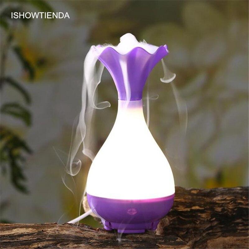 ISHOWTIENDA Vase Shaped Ultrasonic USB Aroma Humidifier Air Diffuser Purifier Lonizer Atomizer Night Lamp Household & Car Using