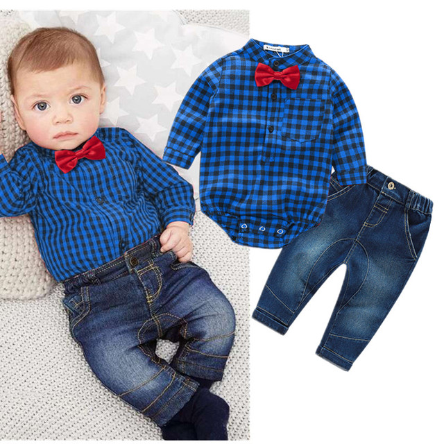 new red plaid rompers shirts+jeans baby boys clothes bebe clothing set