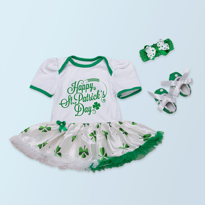 cf595c7a9d2 Infant Happy Patricks Day Newborn Baby Girls Clothes Clover Printed Romper  Tutu Dress White Green Suit+Headband+Shoes 3pcs PN50-in Clothing Sets from  Mother ...