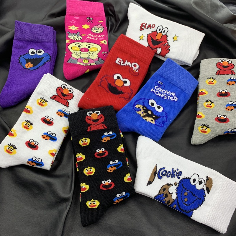 New Sesame Street Cartoon Cosplay Socks Elmo Cookie Monster Novelty Funny Cute Kawaii Socks Women Autumn Comfortable Cotton Sock