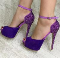 Moraima Snc Newest Purple Ankle Strap Platform Peep Toe Heels Sexy Crystal Embellished Woman High Heel Shoes Dress Pumps