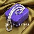 Top Verdadeira pérola Bead 45 cm comprimento de pérolas Naturais AAA 8-9mm destaque Moda pérola Colares Artesanais das mulheres Presente da Festa de jóias