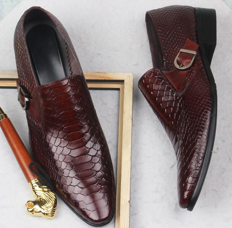 Deslizamiento Punta Boda Oxfords Cuero rojo Correa Zapatos Hombres Chunky En Hebilla Negro Elegante Toes Genuino De Perlage Casual Heel Vestido 6gqBWzXn