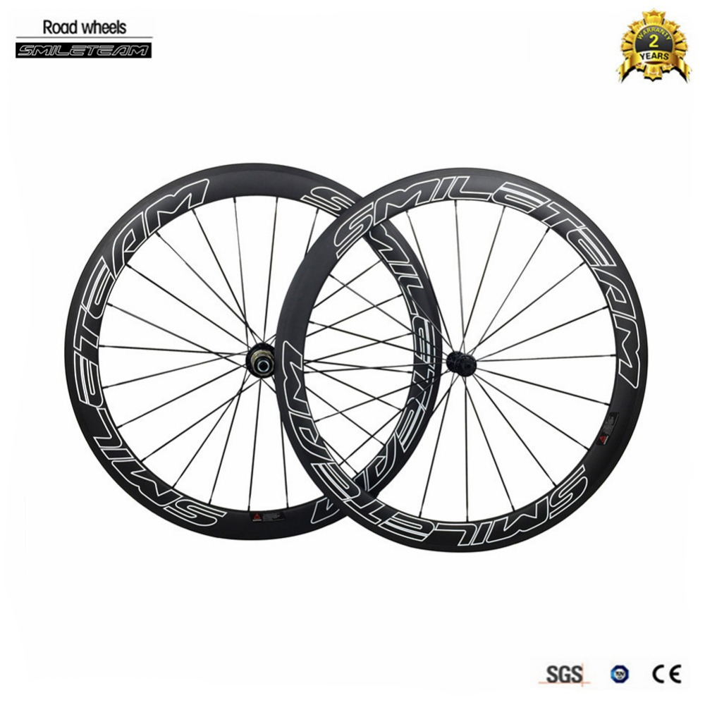 2017 Hot 3K Full Carbon Wheelset 38mm 50mm 60mm Carbon Clincher Wheels With 700C Road Bicycle Wheels For Poweray R13 R36 Hubs smileteam 700c 50mm clincher carbon road bike wheels 23mm width 3k matte carbon racing bicycle wheelset powerway r13 r36 hubs