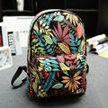 2017 Fashion Printing Canvas Backpack Leaves Flowers Skateboard Backpack Preppy Style Schoolbag Women Travel Shoulder Bags