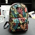 2017 Fashion Printing Canvas Backpack Leaves Flowers Skateboard Backpack Preppy Style Schoolbag Women Travel Shoulder Bags