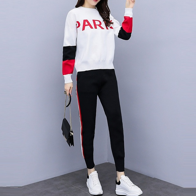 f13f7fe74 2018 Autumn Winter Fashion Knitted Track Pant Suit Two Piece Set ...
