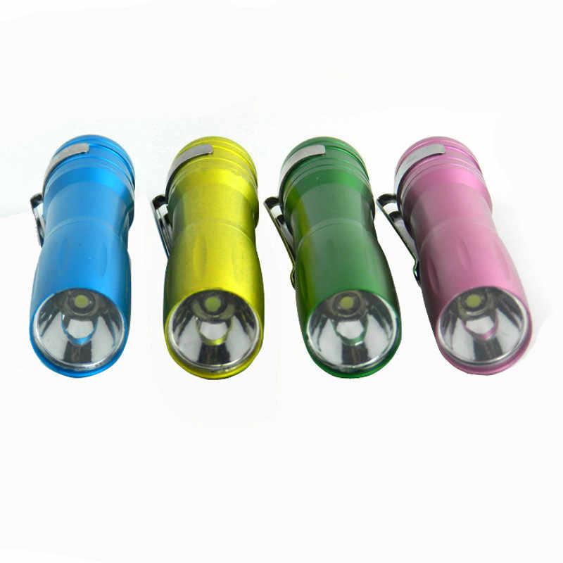 Luar Ruangan Alat Tahan Air Sangat Cerah Mini LED Baterai AA Portable Senter Saku Stainless Steel Torch Paduan Aluminium