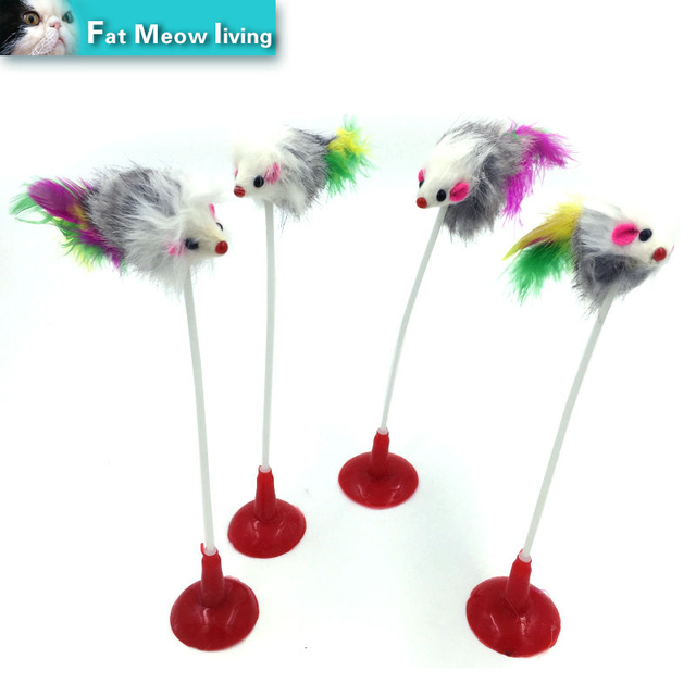 Pet Cat Toys 1pcs Funny Feather False Plush Mouse Bottom Sucker Cat Kitten Playing Toys Pet Seat Scratch Toy 20cm Free shipping