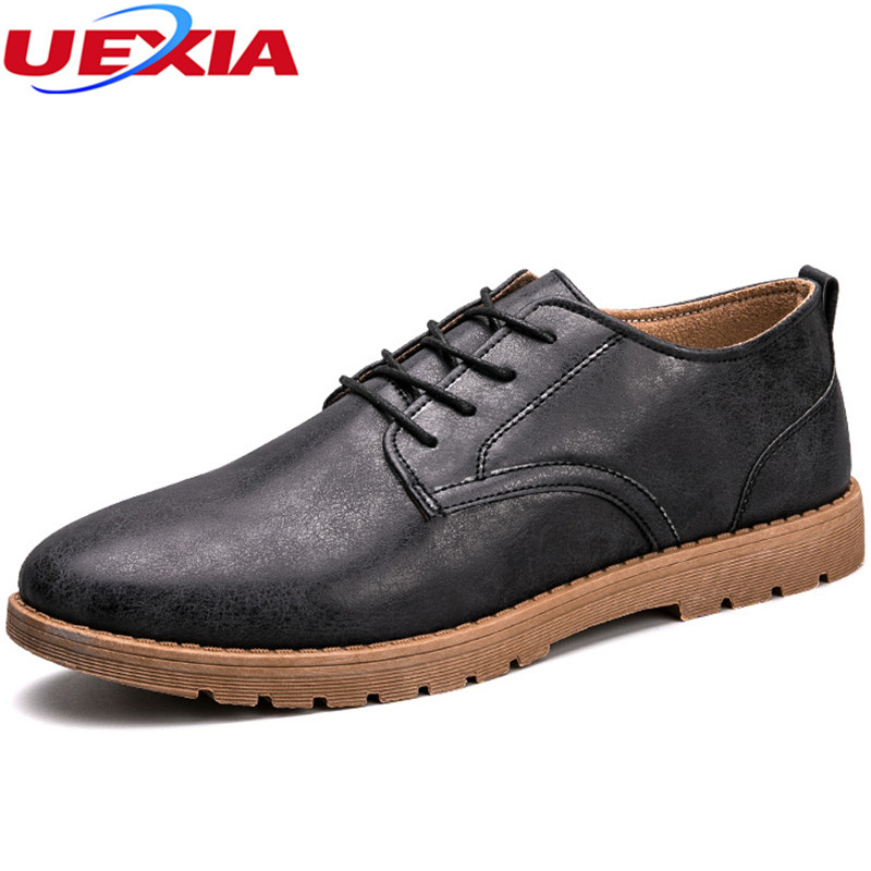 UEXIA New Autumn Casual Men Shoes Leather Shoes Men Oxford Fashion Lace Up Dress Flat Outdoor Work Breathable Retro Comfortable men casual shoes lace up mesh men outdoor comfortable shoes patchwork flat with breathable mountain shoes 259