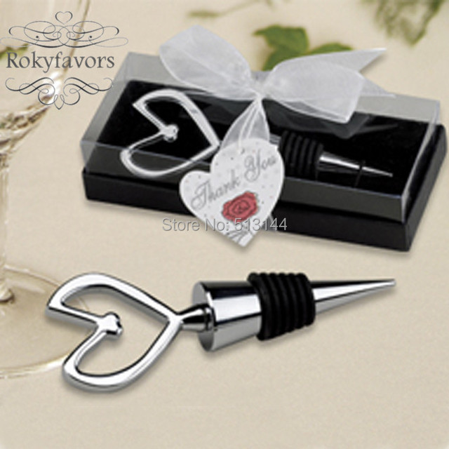 Free Shipping 50pcs Heart Wine Bottle Stopper Wedding Favors Ideas Party Bridal Gifts