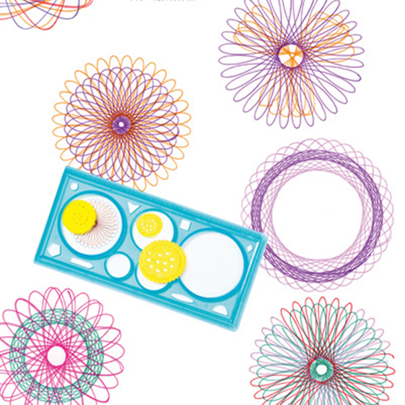 2 Pcs/Set Beautiful Creative Spirograph Geometric Ruler Learning Drawing Tool Stationery For Student Drawing Set Gift