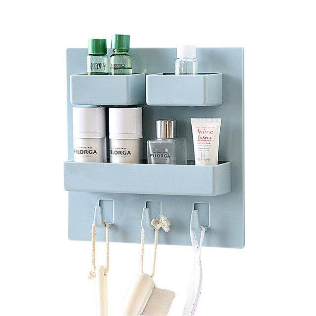 Muro Sucker Multifunzione Storage Rack Muro del Bagno Cosmetico Make ...