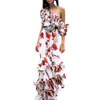 Fashion Elegant Patchwork Print Mopping Long Dress Vintage Asymmetrical Dress Sexy Cascading Ruffle Europe Dress Vestidos CK176